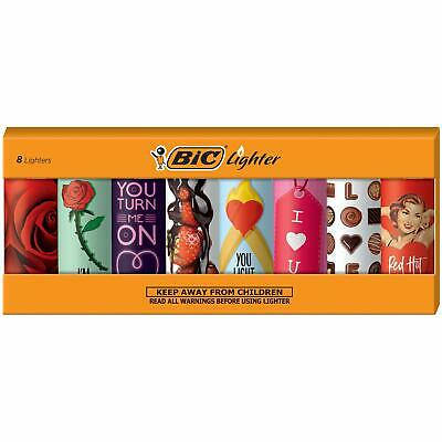BIC Special Edition Valentines Series Lighters Set of 8 Lighters