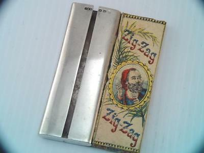 Rare Antique 1898 Sterling Silver Zig Zag Rolling Paper Case & Zig Zag Paper Pac