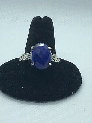 Sterling Silver Oval Lapis Lazuli Ring Sz 9