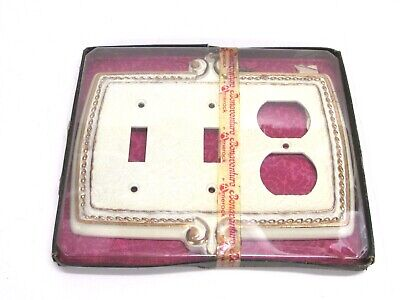 Nos! Vintage Amerock Bonaventure White Double Switch / Receptacle Wall Plate
