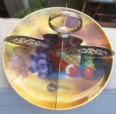Stunning Vintage Hand Painted Plate With Epns Divider