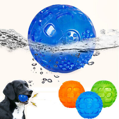 Pet Dog Rubber Chew Ball Training Squeaky Toy Dental Treat Dispensing Puppy Cat