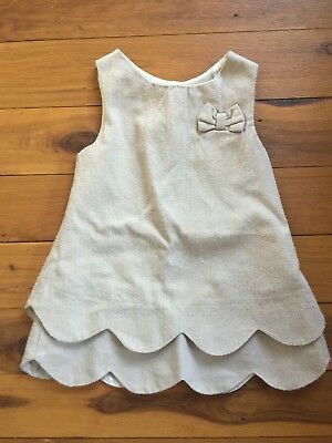 Baby Girl Linen Look Sleeveless Tiered Dress Button Back Beige Brown Size 0