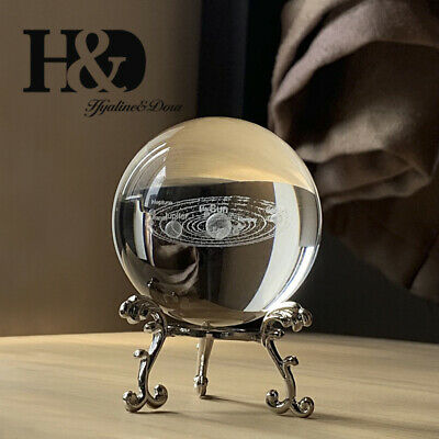 3D Solar System Crystal Ball with Stand Planet Ball Cosmic Model Engraved 60MM