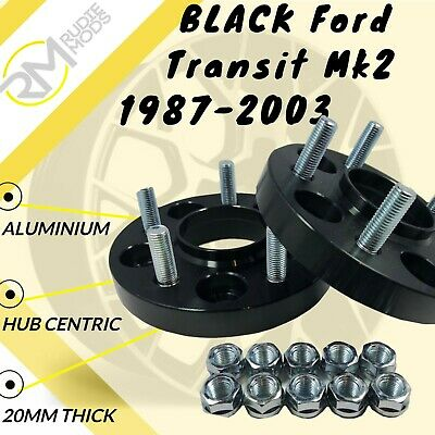 BLACK Ford Transit Mk2 1987-2003 20mm ALLOY Anodised Wheel Spacers