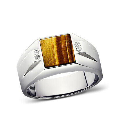 925 Solid Sterling Silver Brown Tigers Eye Ring For Men Real 4 Diamonds All Sz