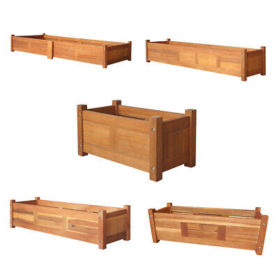 New Acacia Wood Outdoor Planter Wooden Garden Flowers Plant Display 5 Sizes