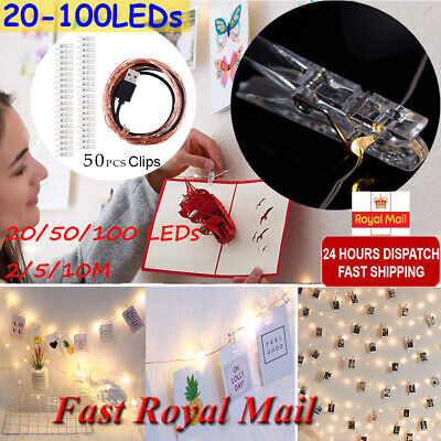20/50/100 Photo Window Hanging Peg Clips LED String Lights Home Party Fairy Deco