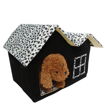 Indoor Dog House Bed Double Room Dogs Kennel Pet Puppy Cats Nest Soft Warm