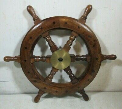 "Vintage/Antique Wooden Ship's Wheel Small 18"" Brass Keyed Hub Nautical Maritime"