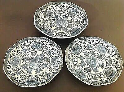 Vintage Asian Blue & White Porcelain Dishes. Set Of 3. 7 1/4 Inch & 6 Inch