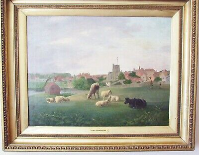 Maidstone, Kent~Antique Oil Landscape~Unusual Aspect Of Town & River Medway