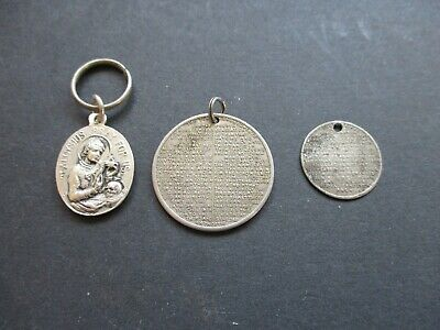 3 Antique Pendants, The Lords Prayer, The Ten Commandments & Silver St Aloysious