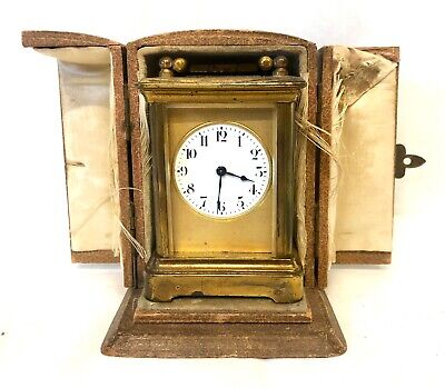 Antique 8 day Miniature Brass Carriage Clock Timepiece with Travelling Box Case