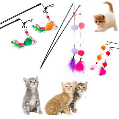 Mouse Interactive Pet Toys Cat Feather Ball Stick Playing Kitten Training