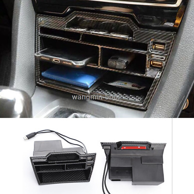 For Honda Civic 2016-2019 ABS carbon fiber Inner Console Storage Box with USB