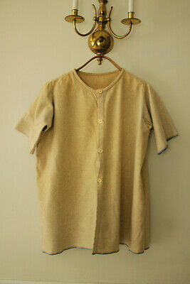 Shirt Vintage French wool ecru toned workwear w/ open pits 1900-1930 button up