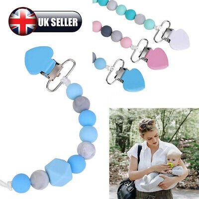 UK Baby Dummy Clip Holder Pacifier Clips Teething Silicone Beads Soother Chains