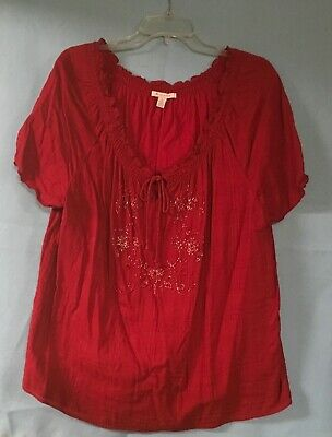 Ladies Deep Red Embroidered Short Sleeve Top - Sz 18