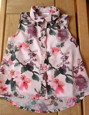 Peacocks Pink Floral Blouse + Vest Top Size 2 Years excellent condition
