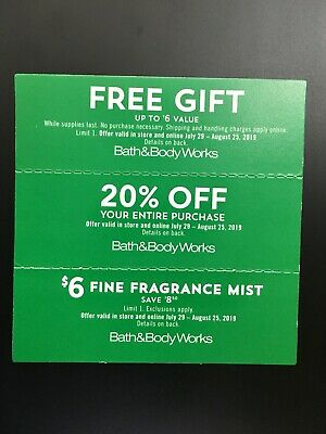 Bath and Body Works Coupons Gift, 20% off, $6 Fine Fragrance Mist Exp. 8/25/19
