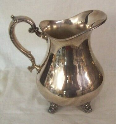"""SILVERPLATE HEAVY WEIGHT FOOTED PITCHER Gorham 9"""" tall 4-2/3 Pint Capacity"""