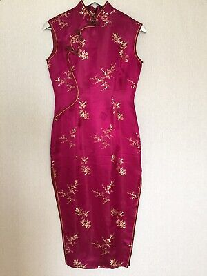 Chinese Oriental Fuchsia Pink Gold Blossom Satin Glam Cocktail Party Dress 10