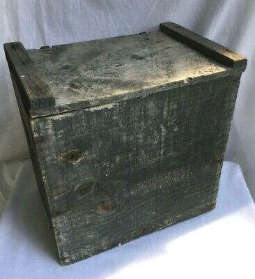 Primitive Antique Wooden Lidded Box w/ Orig. Blue/Gray Paint & Hardware/Hinges