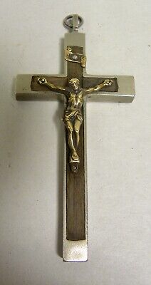 Vintage Antique Metal & Wood Crucifix Pendant Made In France (A5)