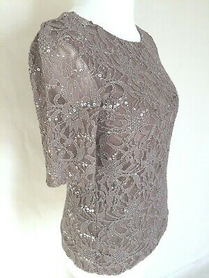 Laura Ashley Lace Couture Style Glam Sheer Taupe Sequin Cocktail Party Blouse 12