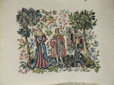 Completed Needlepoint Picture No Frame Scene From Feudal Times Medieval