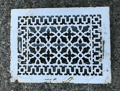 ANTIQUE VICTORIAN CAST IRON FLOOR HEAT VENT REGISTER GRILL LOUVERS WORK 12x16