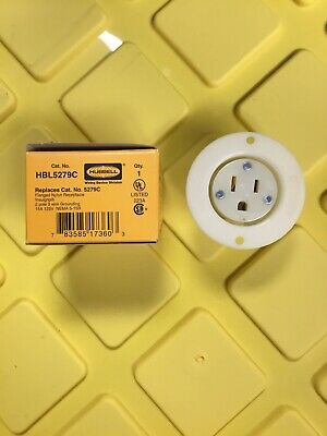 HUBBELL WIRING DEVICE-KELLEMS HBL5279C 15A Single Flanged Receptacle 125VAC