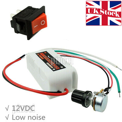 DC12V PWM Motor Speed Control Controllor For Fan Pump Oven Blower with Switch UK