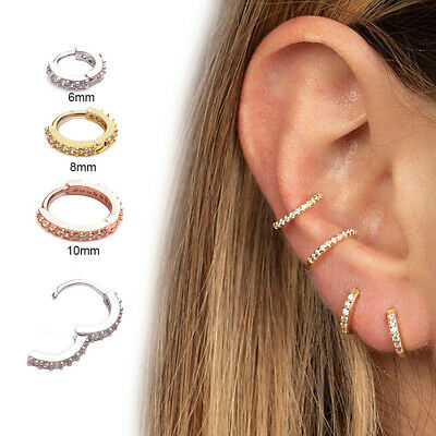 1PC Cartilage Tragus  Daith Conch Hoop Earring Nose Ring  CZ Ear Piercing