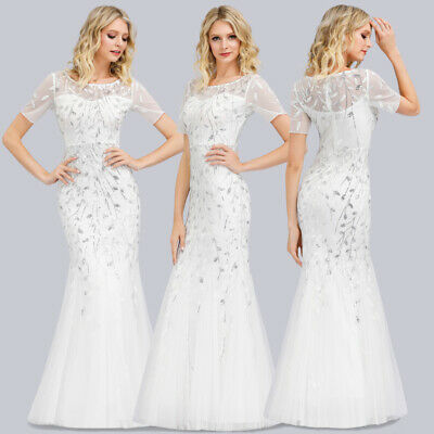 Ever-Pretty US White Formal Wedding Dress Mesh Bodycon Evening Ball Gowns 07707