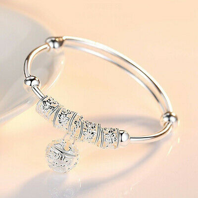 Women Jewelry 925 Sterling Silver Plated Cuff Bracelet Charm Beaded Bangle Gift