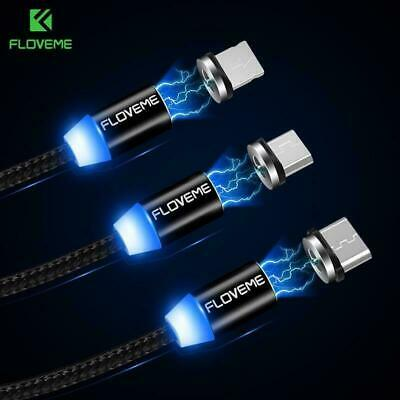 Braided Magnetic Lightning Plug Magnet Micro USB/ C/iOS iphone Charger Cable UK