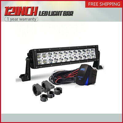 LED Work Light Bar 12Inch 72W 7200LM Brackets Wiring Fit For Jeep Polari ATV UTV