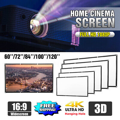 "120"" Portable Foldable Projector Screen 16:9 HD Home Theater Outdoor 3D"