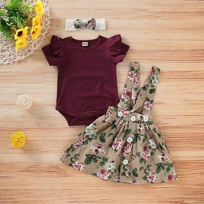 3PC Infant Baby Girls Newborn Outfits Overalls Floral Short Sleeve Skirt Rompers