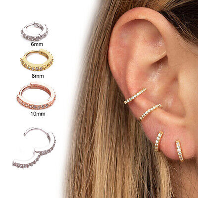Daith Conch Snug CZ Ear Piercing  Nose Ring Body Jewelry Huggie Hoop Earring