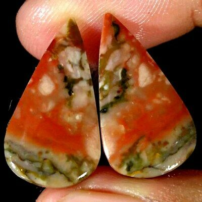 13.20Cts Natural American Picture Jasper Pear Pair Cabochon Loose Gemstone