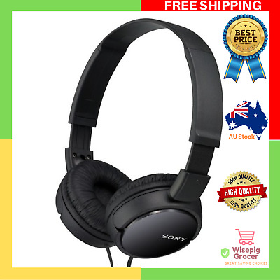 GENUINE BRAND NEW Sony MDR ZX110 On Ear Headphones Black Cord Lightweight Design