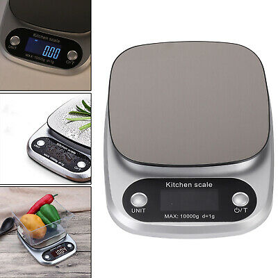 10kg Kitchen Scales Portable Electronic Digital LCD Weighing Stainless Steel