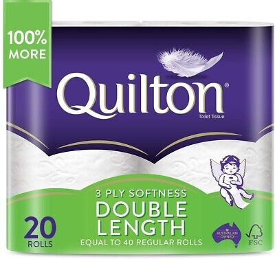 Toilet Paper 20 Rolls Deluxe Quilton 3 Ply Double Length Large Roll Tissue Bulk
