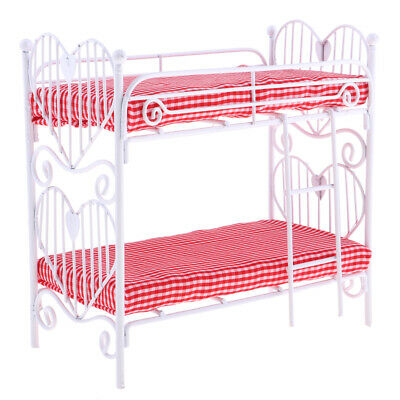 1/12 Dolls House Miniature Bedroom Furniture Metal Bunk Bed with Plaid Mattress