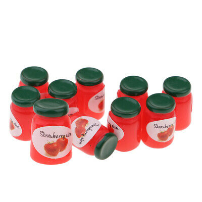 1/12 Dolls House Miniature Strawberry Jam Bottles Canned Food Kitchen Accessory