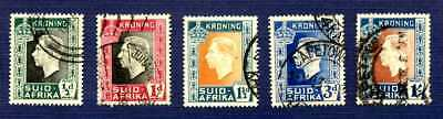 South Africa-1937-#74/78-King George Vi Coronation-Set Of 5-Used