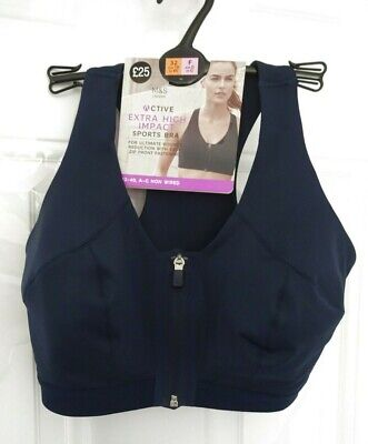 ❤ New M&S 32E Extra High Impact Non Wired Zip Front Fastening Sports Bra Navy